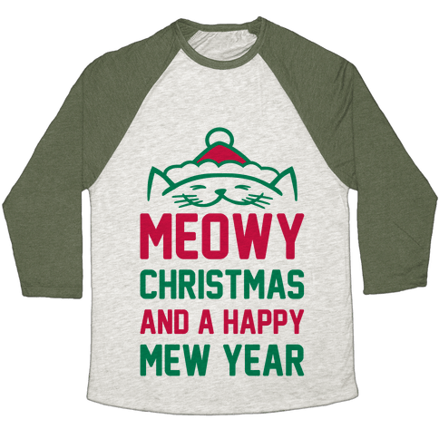 Meowy Christmas Baseball Tee