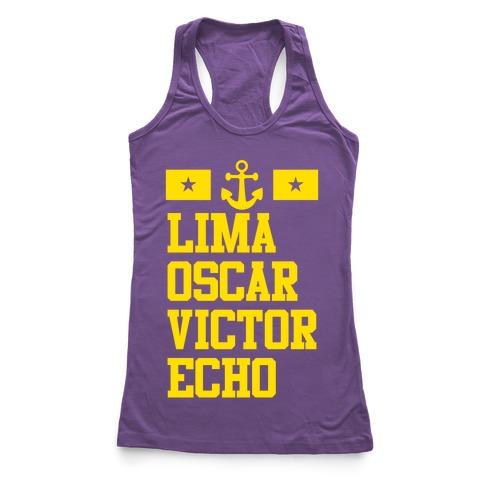 Lima Oscar Victor Echo (Navy) Racerback Tank Top