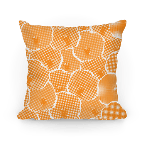 Yellow Poppy Flower Pattern Pillow