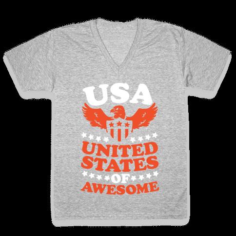 United States of Awesome V-Neck Tee Shirt