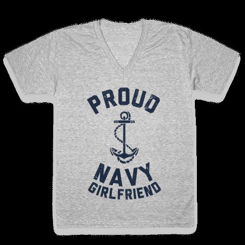 Proud Navy Girlfriend V-Neck Tee Shirt