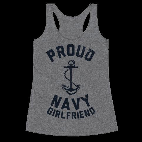 Proud Navy Girlfriend Racerback Tank Top