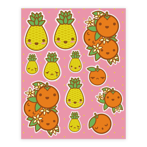 Kawaii Fruit  Sticker/Decal Sheet