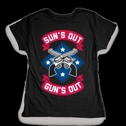 Sun's Out Gun's Out (Merica) Womens T-Shirt