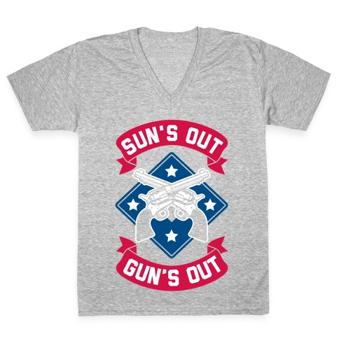 Sun's Out Gun's Out (Merica) V-Neck Tee Shirt