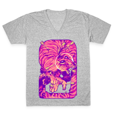Saint Sebastian Tiger V-Neck Tee Shirt