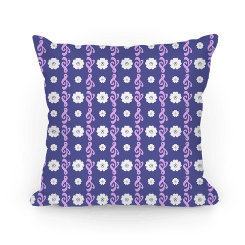 Purple Flowers and Filigree Stripes Pillow