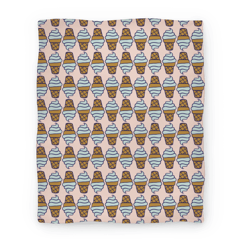 Mint Ice Cream Cone Pattern Blanket