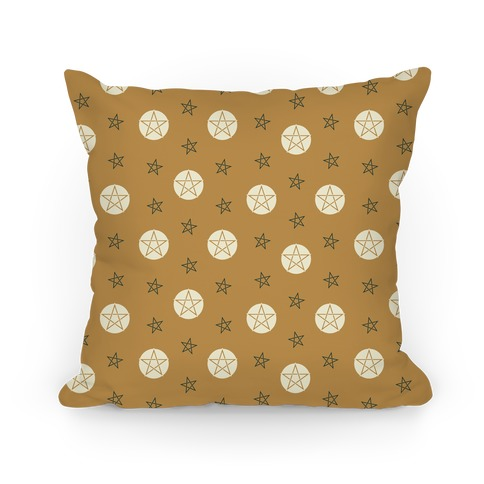 Yellow Wicca Pentacle Pattern Pillow