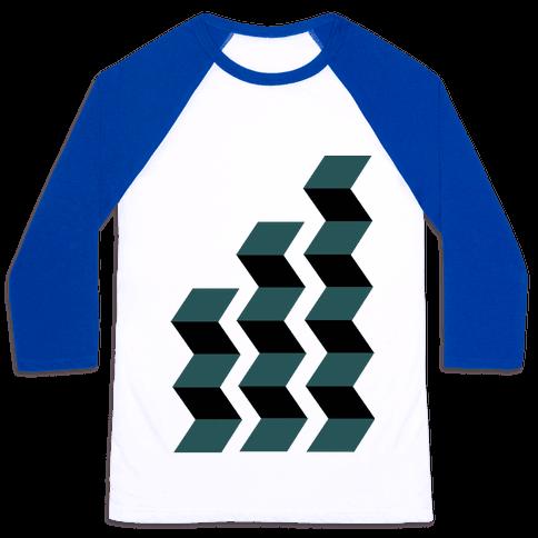 Geometric Folding Screen Baseball Tee