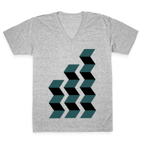Geometric Folding Screen V-Neck Tee Shirt