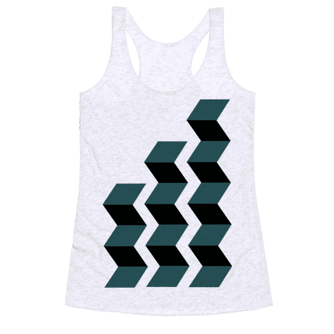Geometric Folding Screen Racerback Tank Top