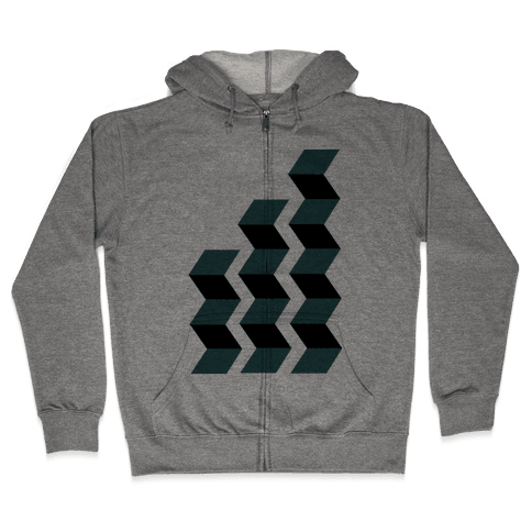 Geometric Folding Screen Zip Hoodie