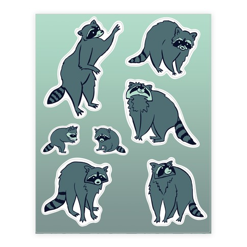 Cute Raccoon  Sticker/Decal Sheet