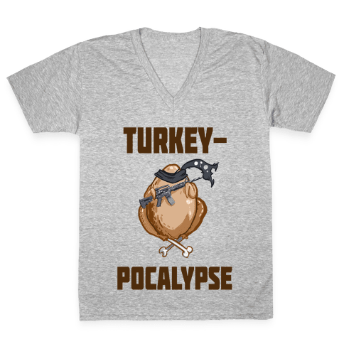 TurkeyPocalypse (dark) V-Neck Tee Shirt