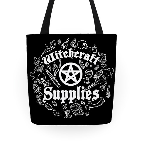 Witchcraft Supplies with Pentagrams, Crystals & Feathers Tote