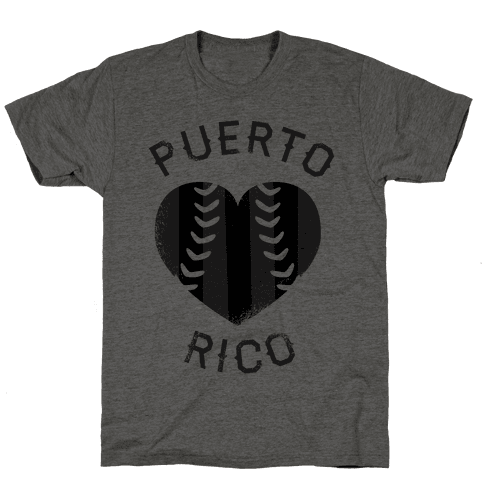Puerto Rico Baseball Love (Baseball Tee) Mens T-Shirt