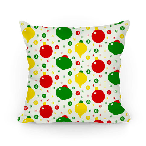 Christmas Ornament and Snowflake Pattern Pillow