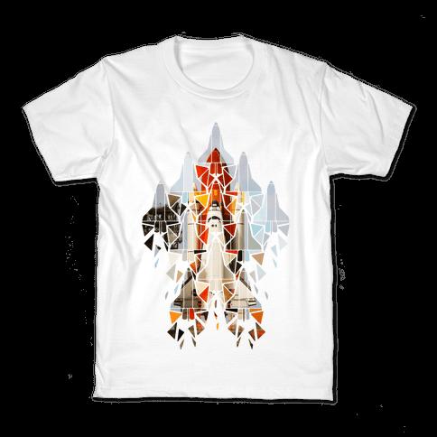 Geometric Space Shuttle Launch Kids T-Shirt