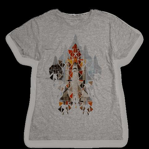 Geometric Space Shuttle Launch Womens T-Shirt