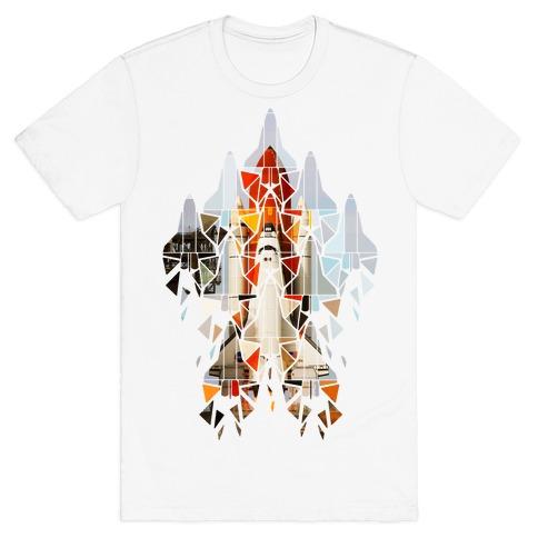 Geometric Space Shuttle Launch T-Shirt