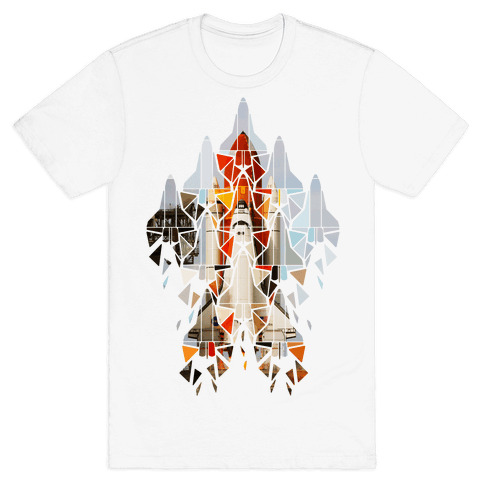 Geometric Space Shuttle Launch Mens T-Shirt