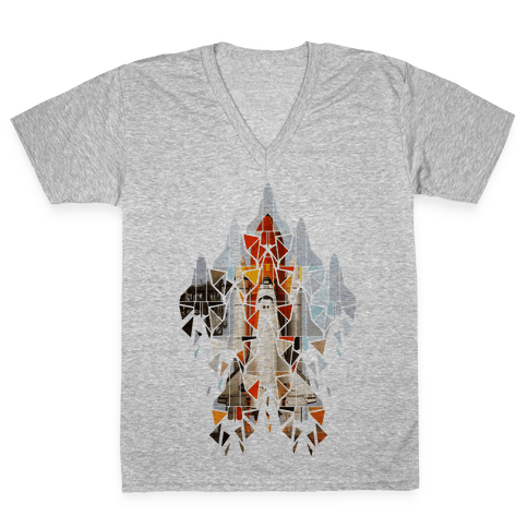 Geometric Space Shuttle Launch V-Neck Tee Shirt