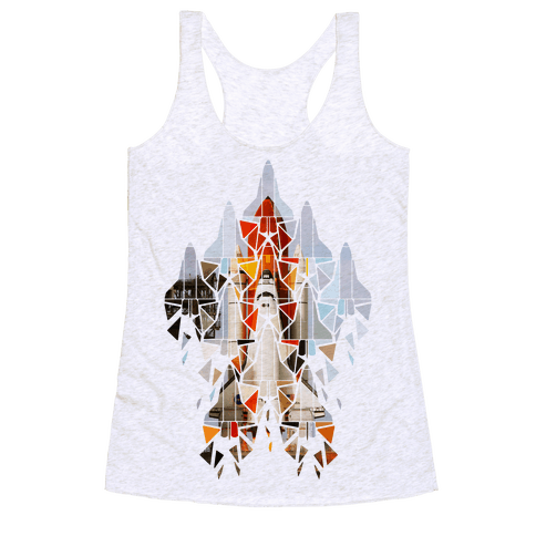 Geometric Space Shuttle Launch Racerback Tank Top