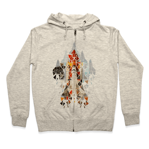 Geometric Space Shuttle Launch Zip Hoodie