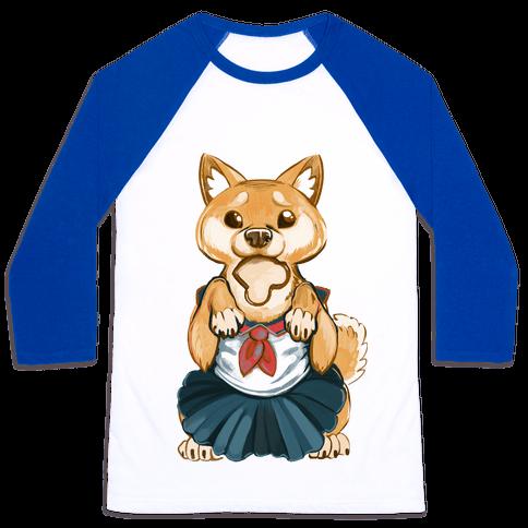 Shiba Inu is Late for Anime School Baseball Tee
