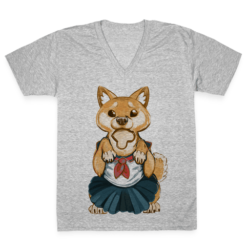 Shiba Inu is Late for Anime School V-Neck Tee Shirt
