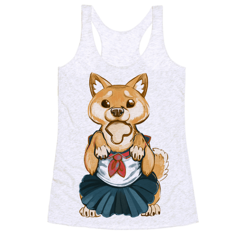 Shiba Inu is Late for Anime School Racerback Tank Top