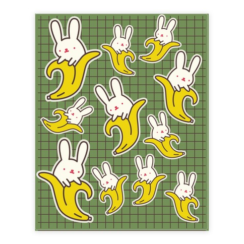Bunny Banana Sticker/Decal Sheet
