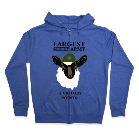Largest Sheep Army Zip Hoodie