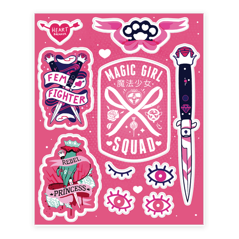Magic Girl Power Sticker and Decal Sheet