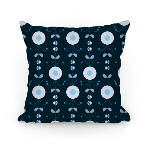 Retro Flower Pattern Pillow (Blue) Pillow