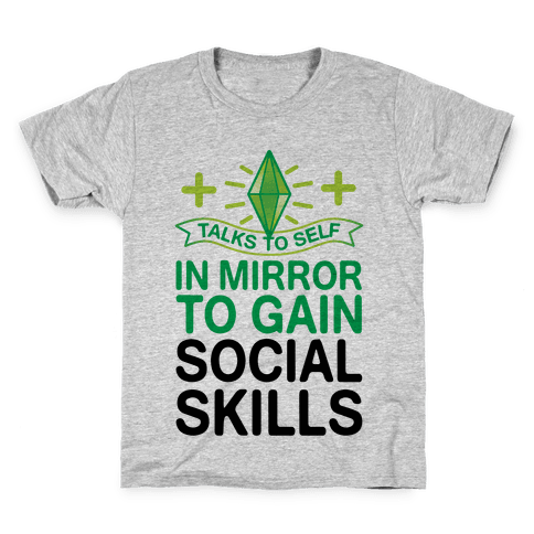 Talks To Self In Mirror To Gain Social Skills Kids T-Shirt