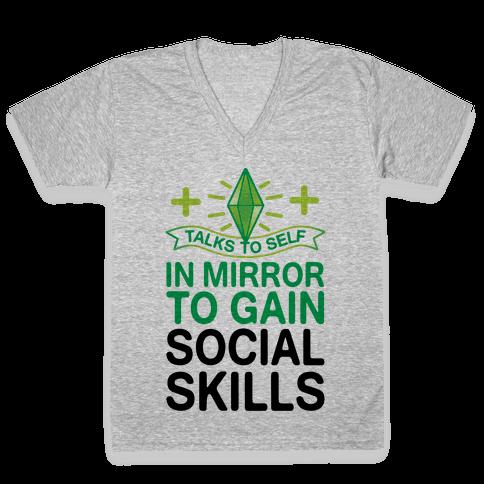 Talks To Self In Mirror To Gain Social Skills V-Neck Tee Shirt