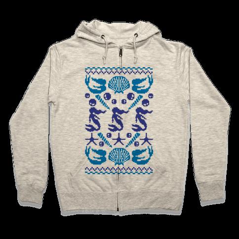 Ugly Mermaid Sweater Zip Hoodie