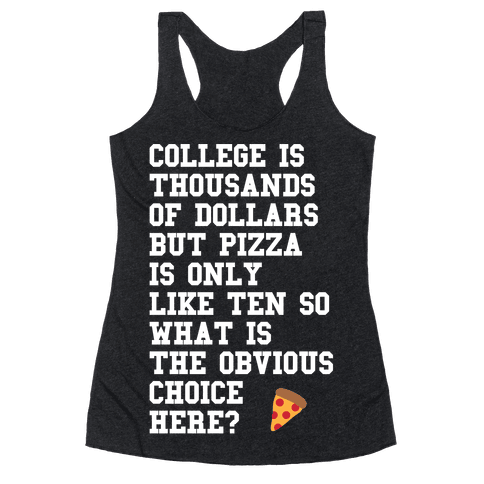 College Vs Pizza Racerback Tank Top
