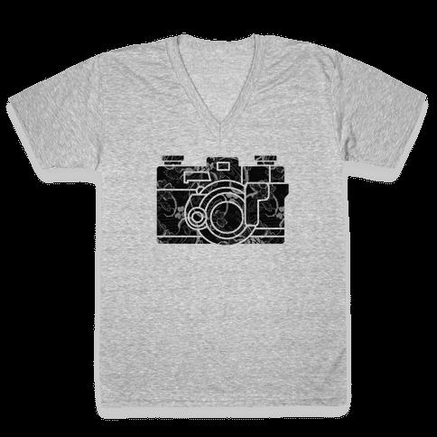 Camera V-Neck Tee Shirt