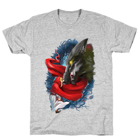Little Red Riding Hood and the Wolf Mens T-Shirt