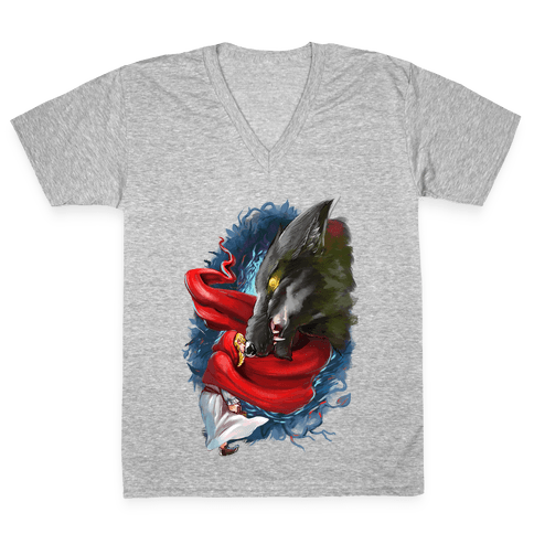 Little Red Riding Hood and the Wolf V-Neck Tee Shirt