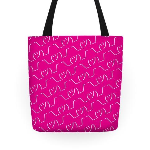 Emoticon Shrugs Pink Tote
