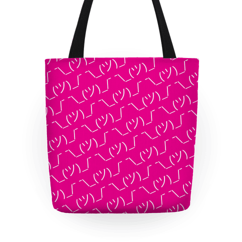 Emoticon Shrugs Pink Tote