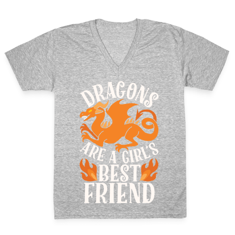 Dragons Are A Girl's Best Friend V-Neck Tee Shirt