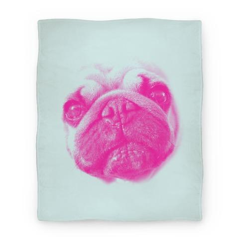Pink Pug Face Blanket