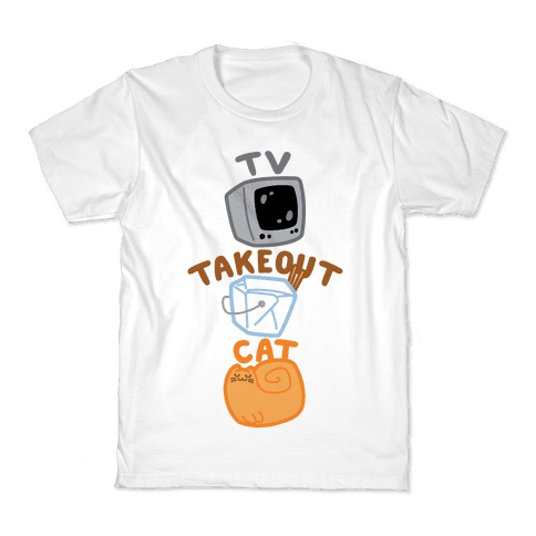 Tv Takeout Cat Kids T-Shirt