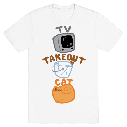 Tv Takeout Cat Mens T-Shirt