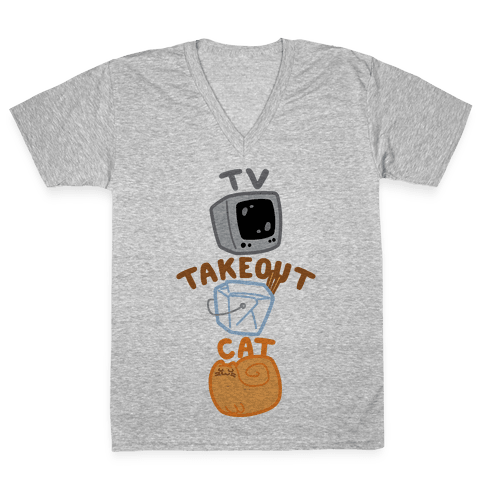 Tv Takeout Cat V-Neck Tee Shirt